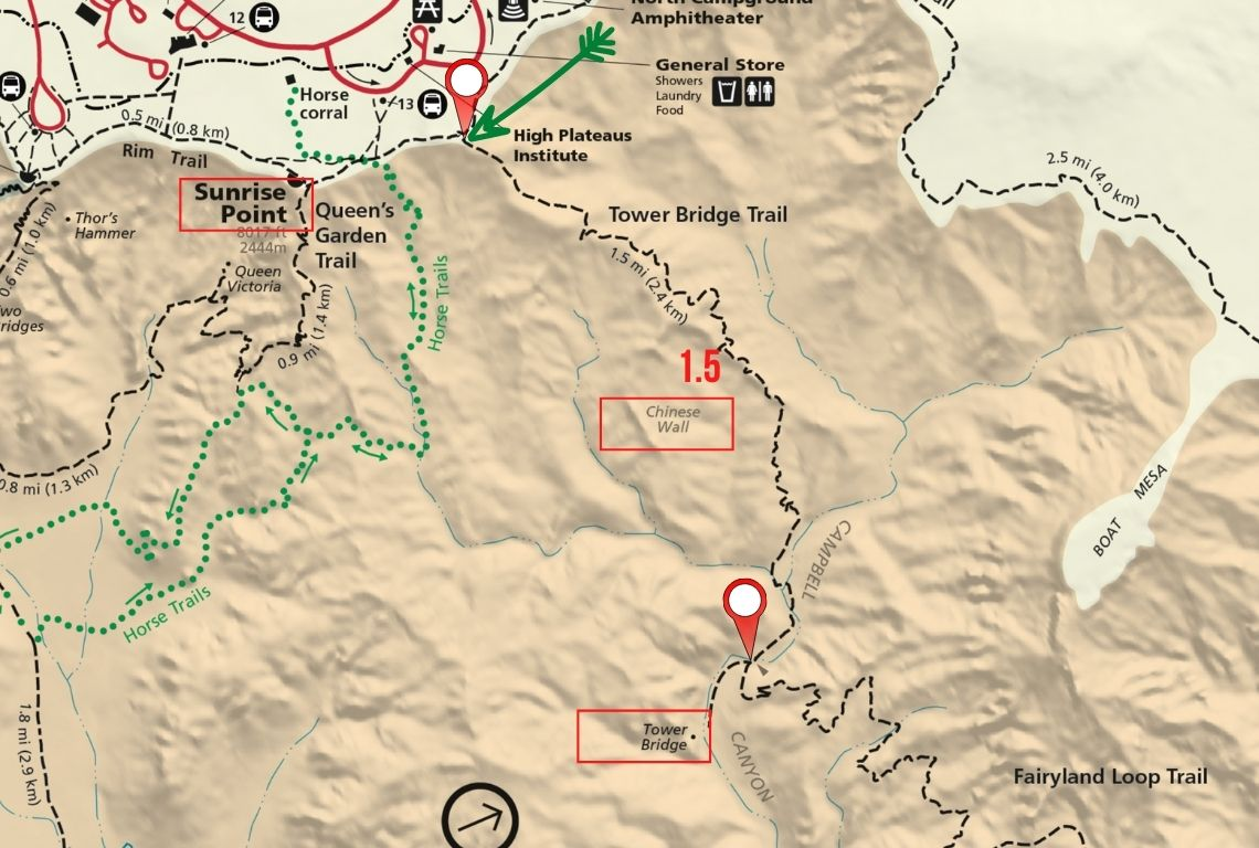 Map of Tower Bridge Trail in Bryce Canyon