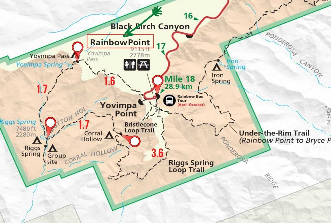Map of Riggs Spring Loop Trail in Bryce Canyon