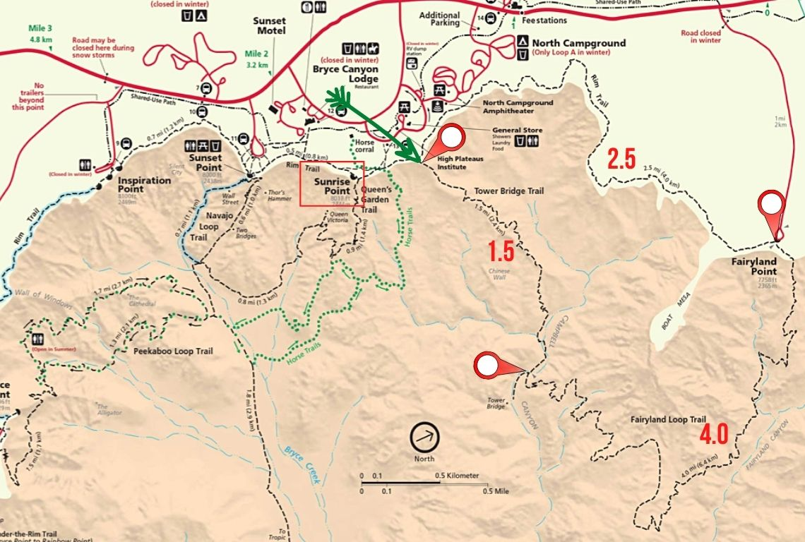 Map of Fairyland Loop Trail in Bryce Canyon