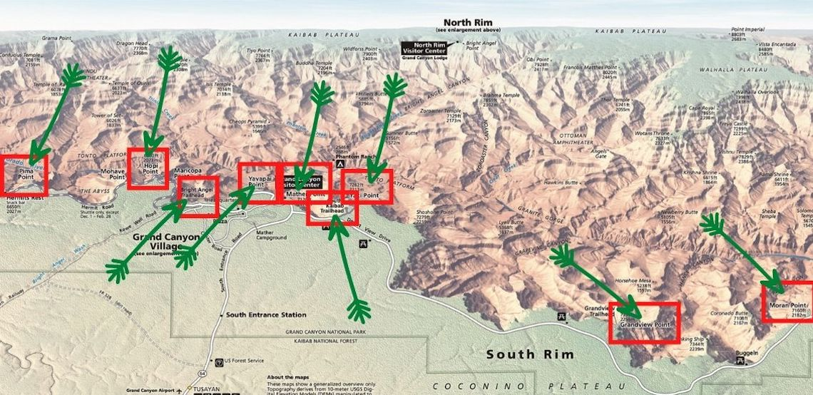 Map of the Best Photography Locations in Grand Canyon