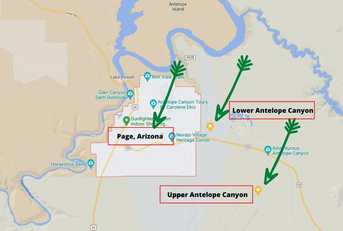 Map of Antelope Canyon