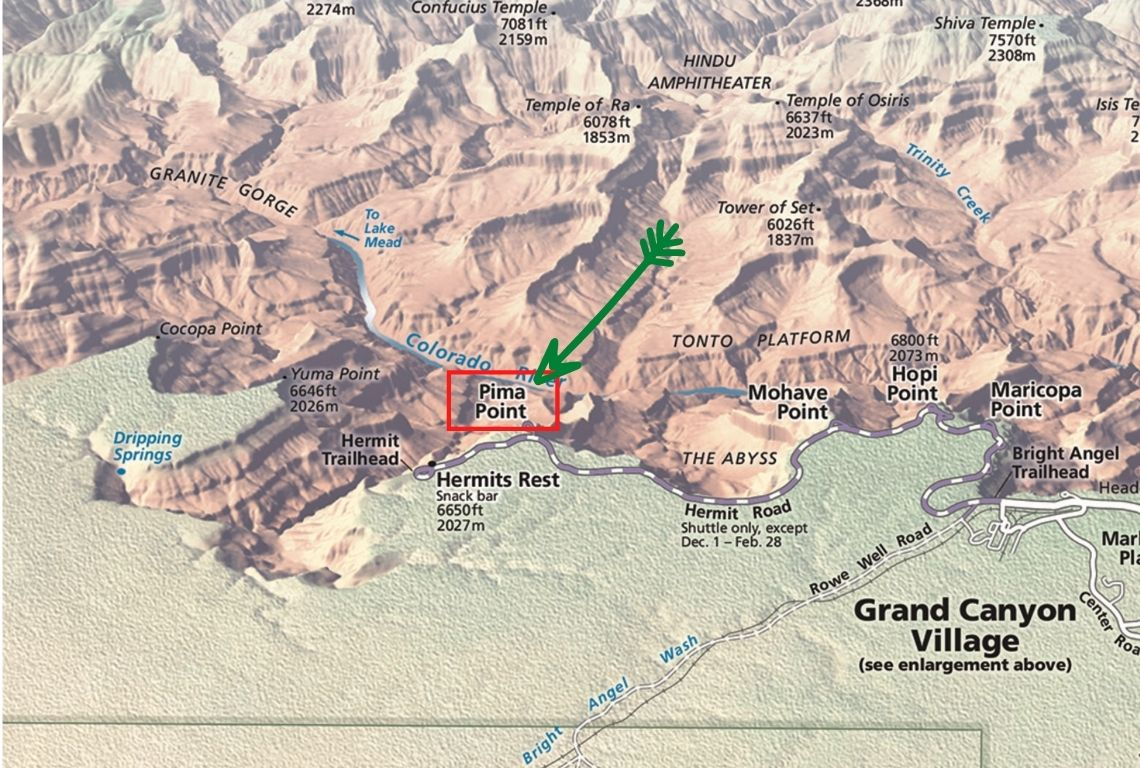 Map of Pima Point in Grand Canyon National Park